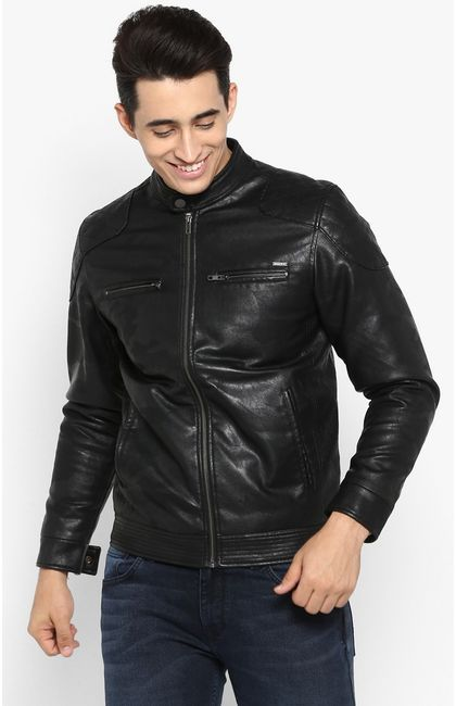 Black Printed Slim Fit Leather Jackets