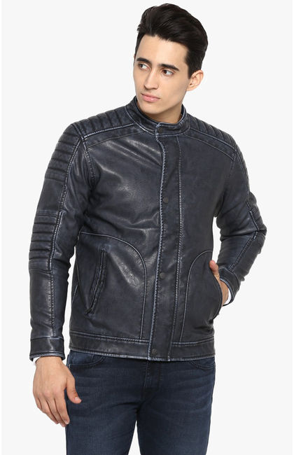 Blue Solid Slim Fit Leather Jackets