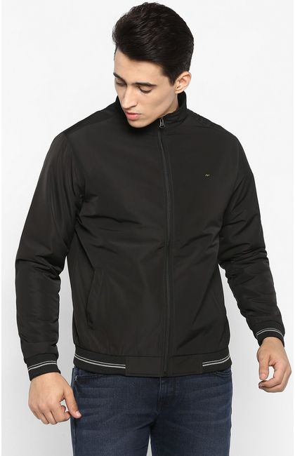 Black Solid Slim Fit Bomber Jackets