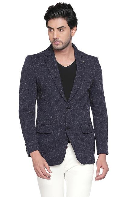Blue Melange Straight Fit Blazers