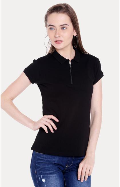 Black Solid Regular Fit T-Shirts