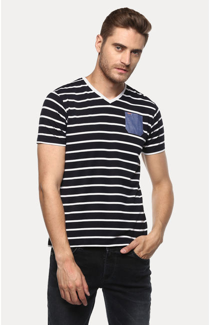 Navy Blue Striped Slim Fit T-Shirts