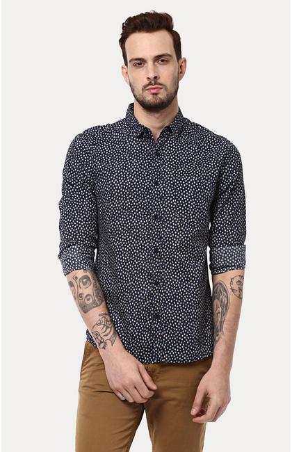 Navy Printed Slim Fit Casual Shirts
