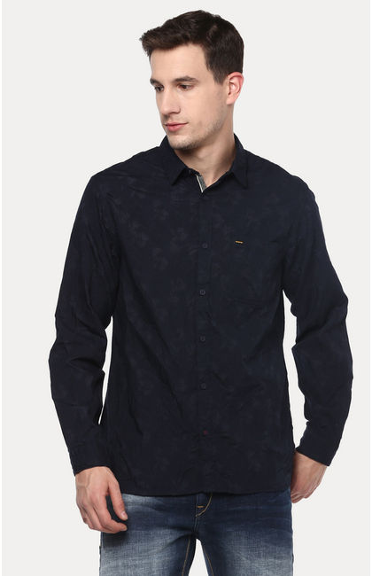 Navy Blue Printed Slim Fit Casual Shirts