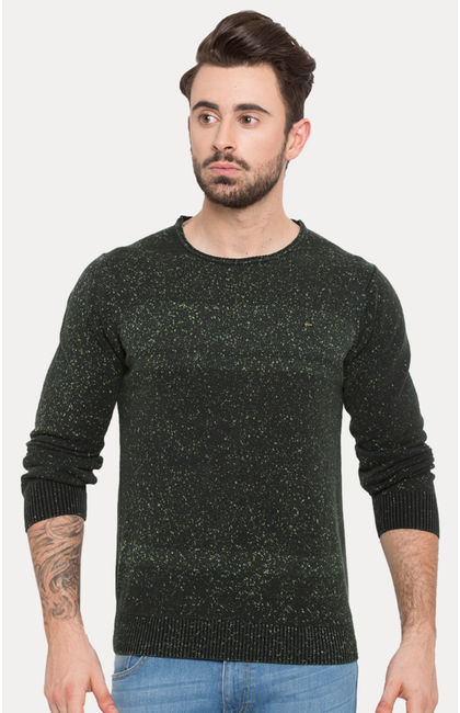 Green Printed Slim Fit Sweatshirts
