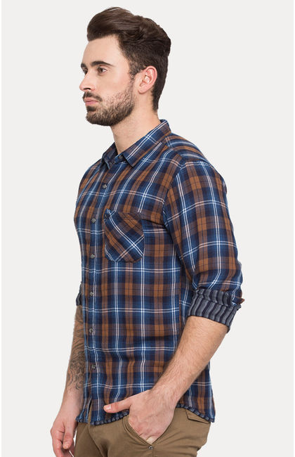 Brown Checked Slim Fit Casual Shirts