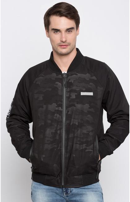 Black Camouflage Regular Fit Bomber Jackets