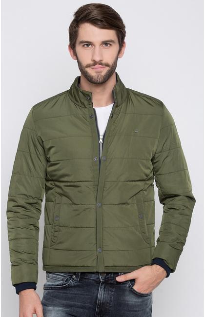 Olive Solid Regular Fit Front Open Jackets