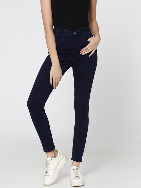 Dark Blue Mid Rise Skinny Fit Jeans