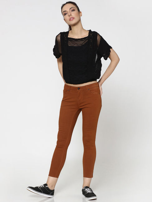 Brown Mid Rise Skinny Fit Ankle Length Pants