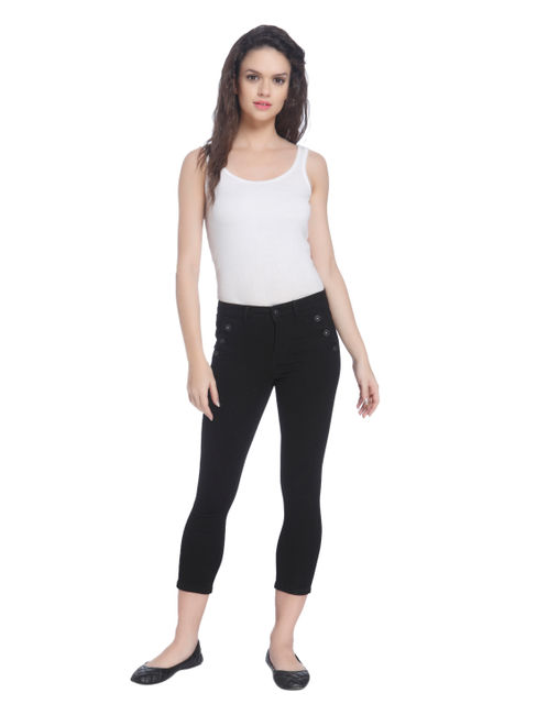 Black Skinny Fit Jeans With Button Detailing