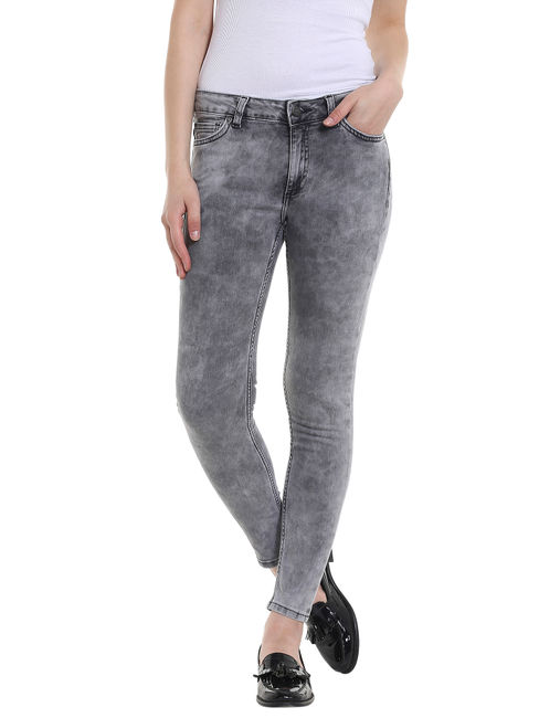 Grey Washed Mid Rise Slim Jeans