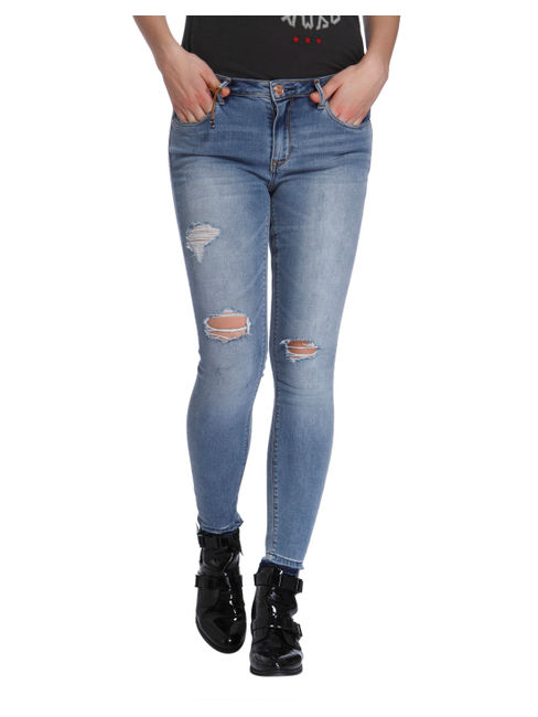 Light Blue Ripped Regular Waist Skinny Jeans