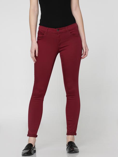 Brown Low Waist Skinny Fit Pants