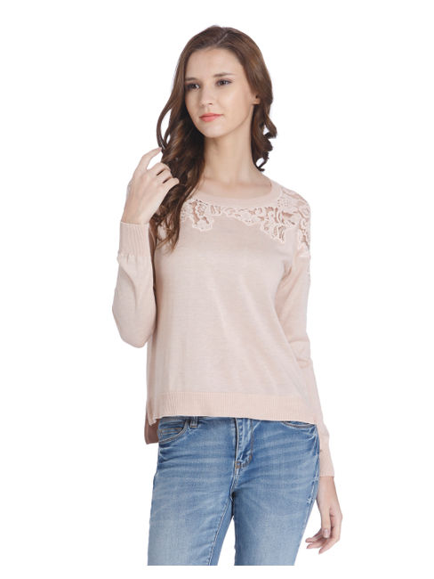 Cream Sheer Lace Pullover