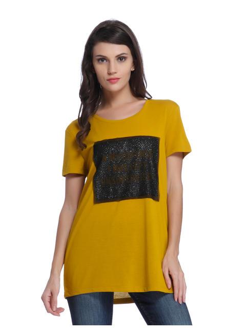 Yellow Print Half Sleeve Tee