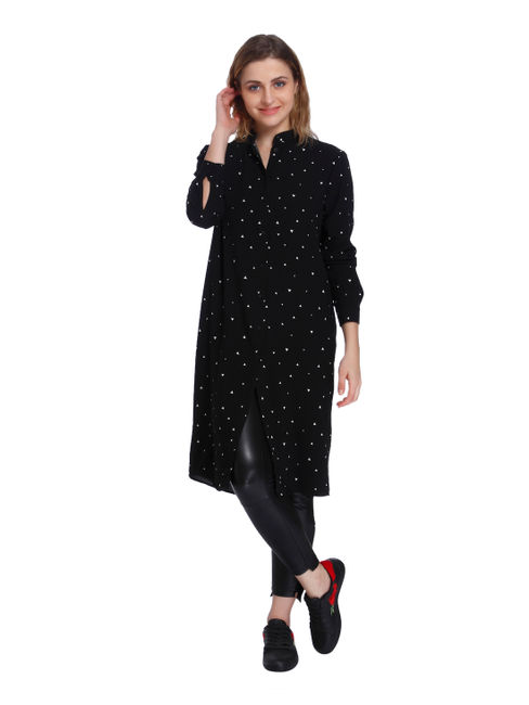 Black All Over Print Long Shirt