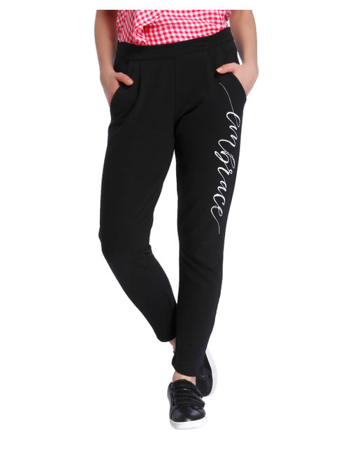 Black Text Print Sweatpants
