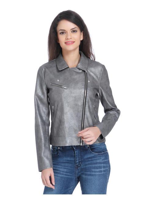 Grey Cropped Biker Jacket