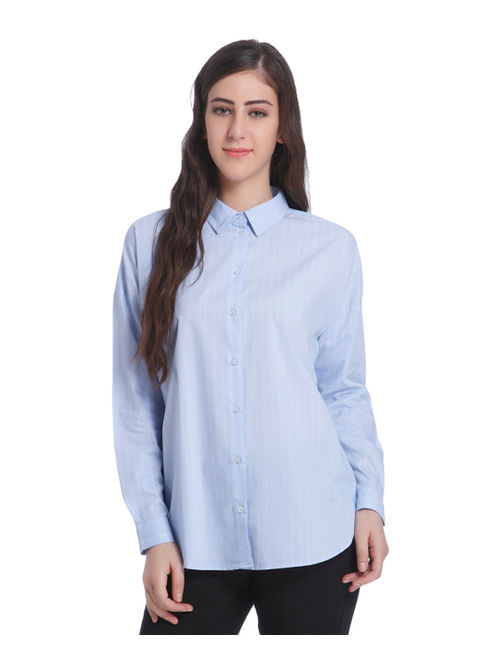 Blue Striped Full Sleeve Shirt