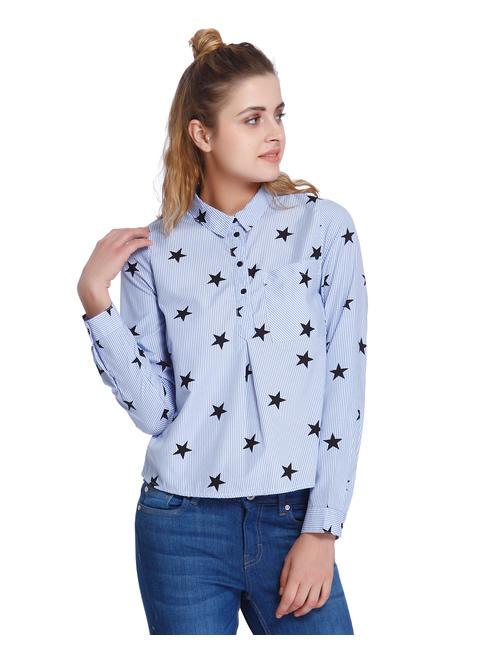 Blue Striped Star Print Shirt
