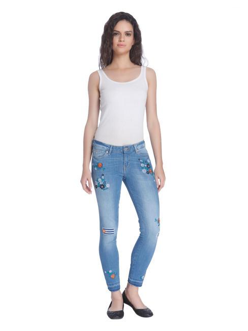 Ankle Length Floral Patchwork Blue Jeans