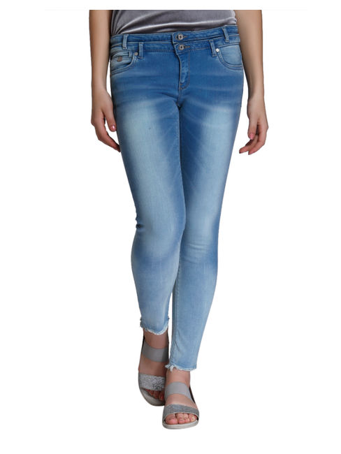 Blue Distressed Slim Fit Jeans