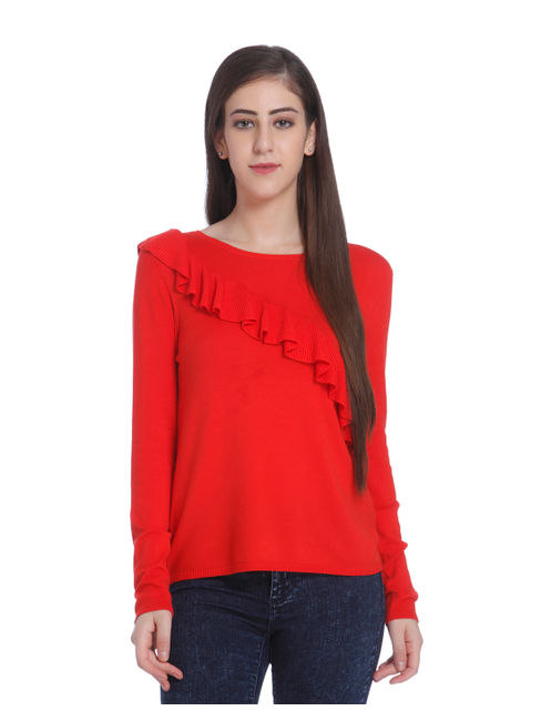 Red Ruffle Detail Pullover