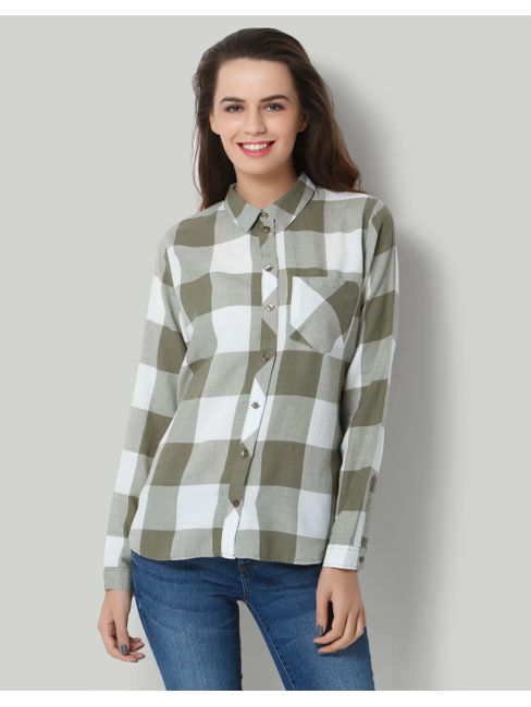 White & Green Check Shirt