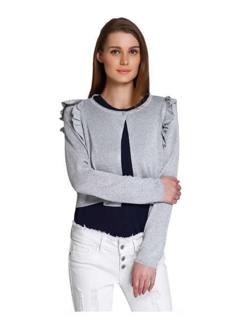 Light Grey Ruffle Detail Short Cardigan