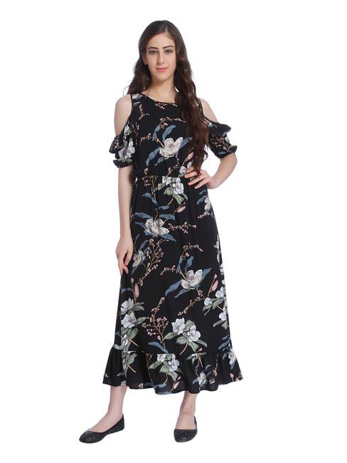 Black Cold Shoulder Floral Print Maxi Dress