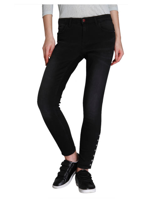 Grey Button Detail Regular Waist Skinny Fit Jeans