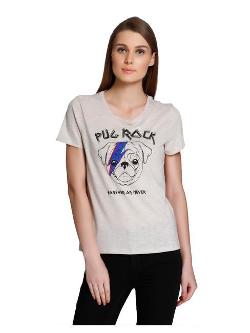 Beige Dog Print T-Shirt