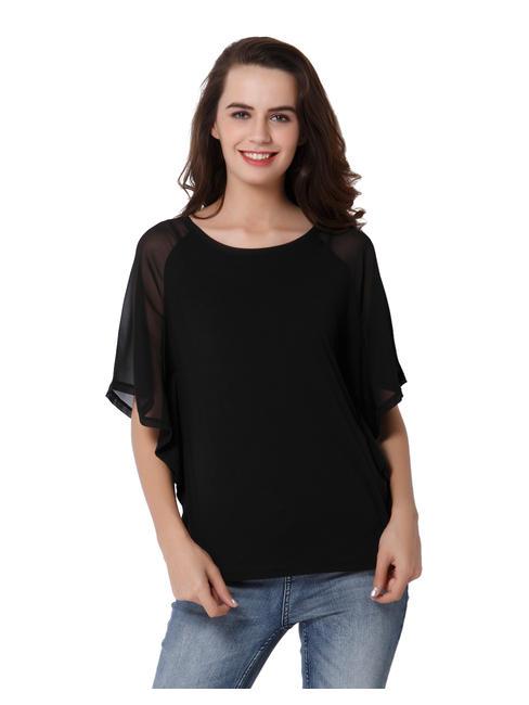 Black Sheer Sleeves Top