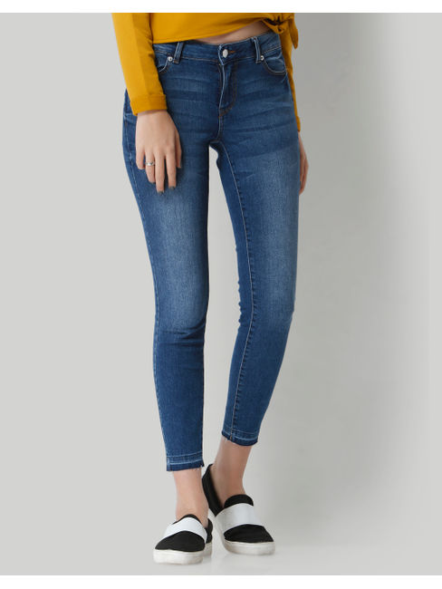 Blue Mid Rise Skinny Fit Ankle Length Jeans