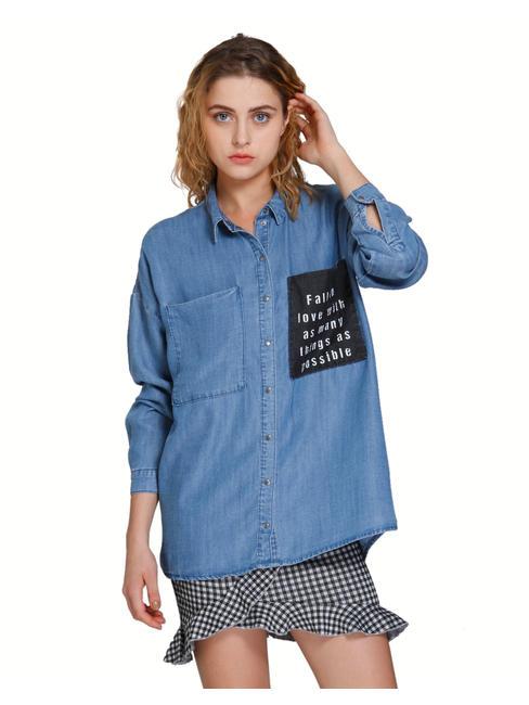 Blue Text Print Oversized Denim Shirt
