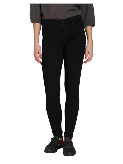 Black Eyelet Detail Medium Rise Skinny Fit Jeans