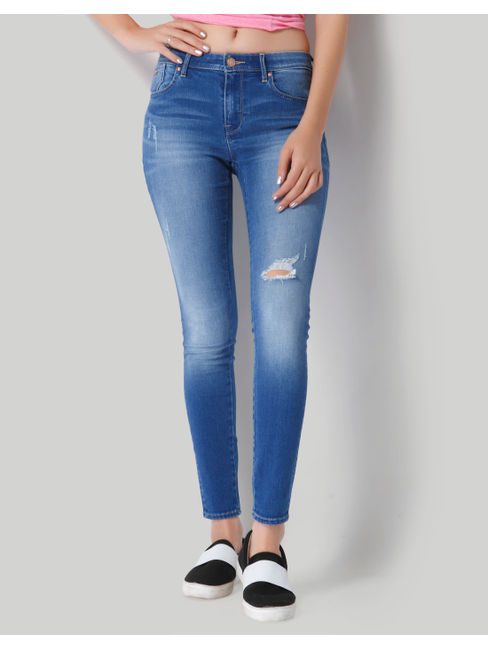 Light Blue Ripped Mid Rise Skinny Jeans