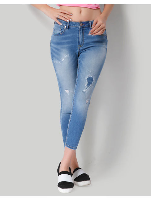 Blue Mid Rise Skinny Distressed Faded Jeans