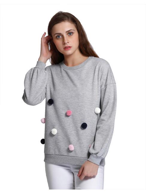 Light Grey Pom Pom Detail Sweatshirt