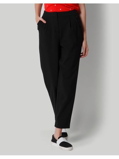 Black High Waist Ankle Length Pants