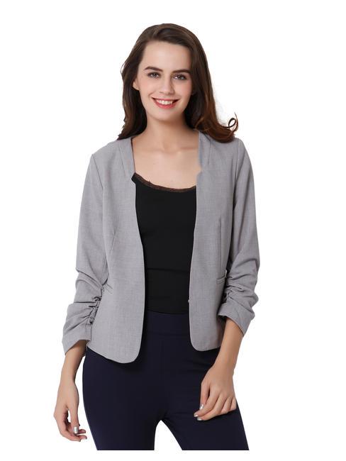 Light Grey Ruched Sleeves Blazer