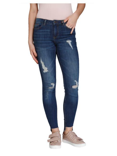 Blue Destroyed Medium Rise Skinny Fit Jeans