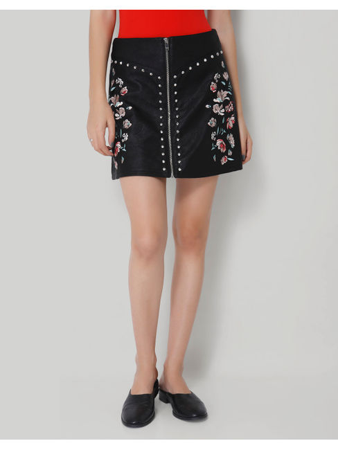 Black Faux Leather Embroidered Zipper Short Skirt