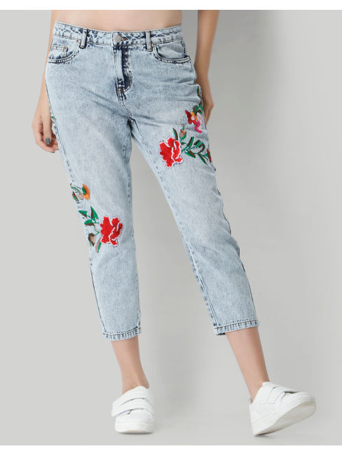 Light Blue Floral Embroidered Mid Rise Boyfriend Jeans