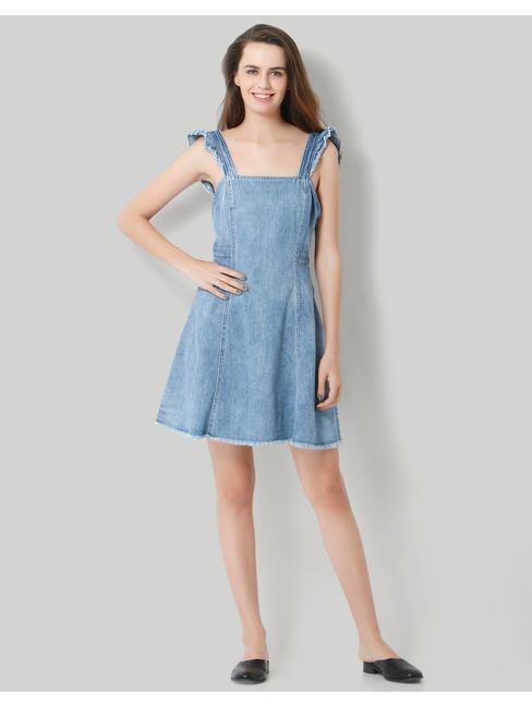 Light Blue Deep Back Denim Mini Dress