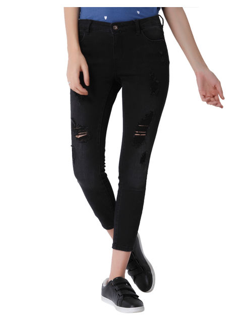 Black Distressed Mid Rise Skinny Fit Ankle Length Jeans