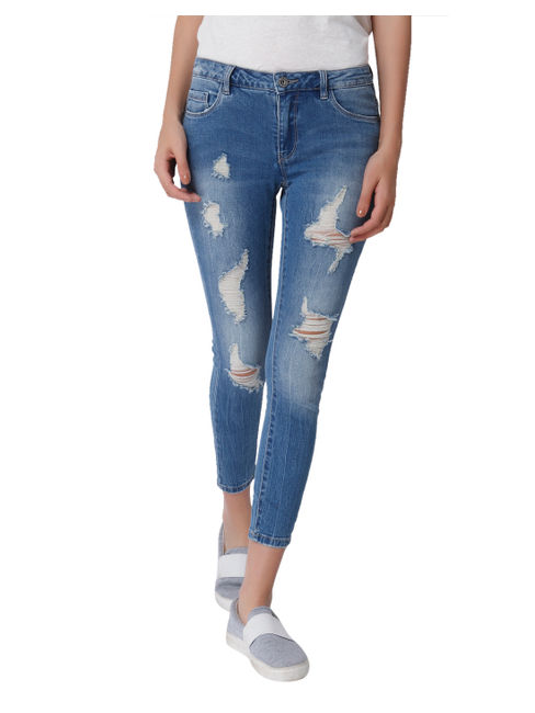 Blue Ripped Mid Rise Skinny Fit Jeans