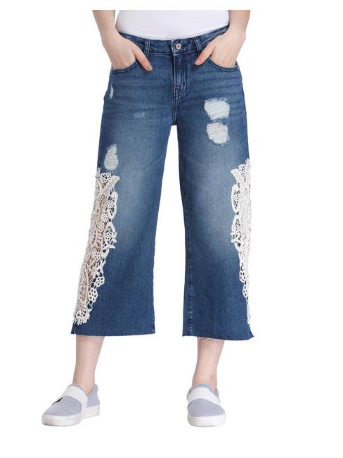 Blue Denim Lace Culottes