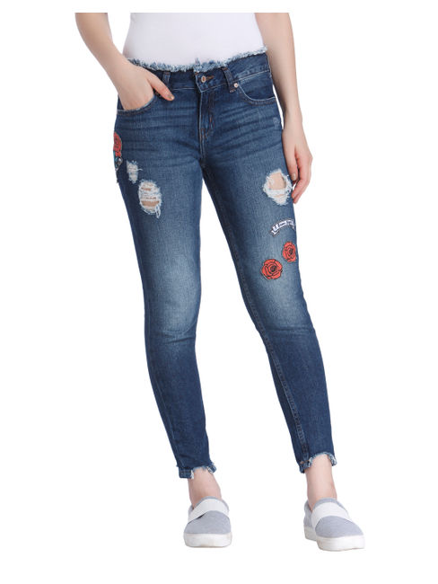 Blue Ripped And Embroidered Low Rise Skinny Fit Jeans